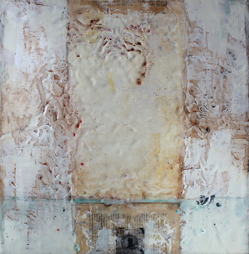 """Hope Within, encaustic mixed media, 18""""x18"""""""