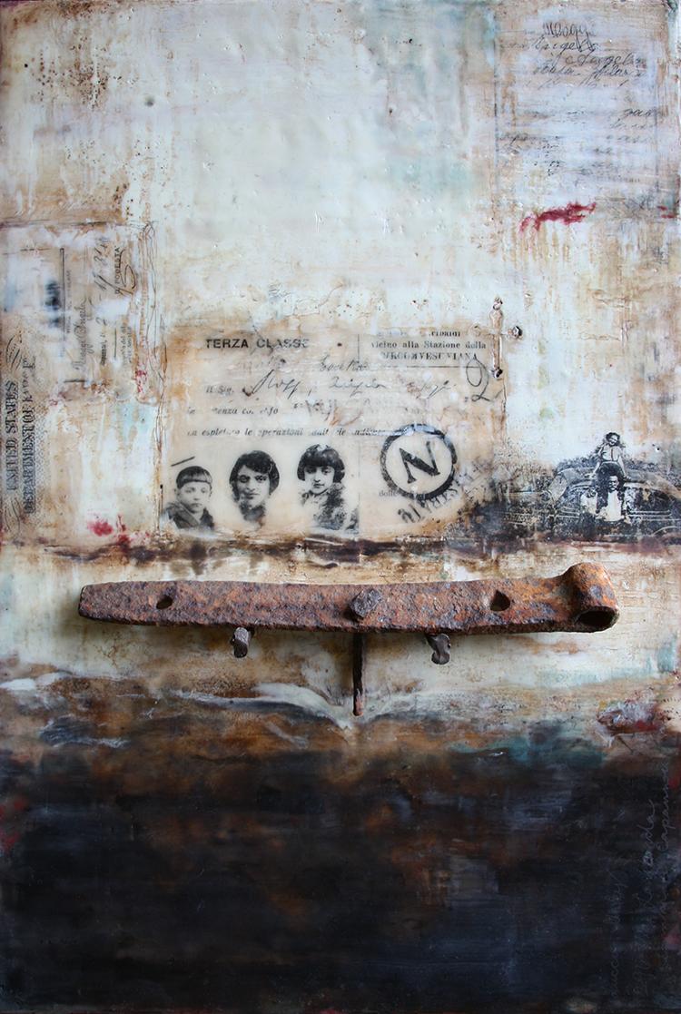 "Rose's Barn, encaustic mixed media, 12"" x 18"", 2014"