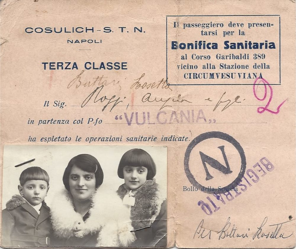 Dominic, Angela and Rosetta's immigration card