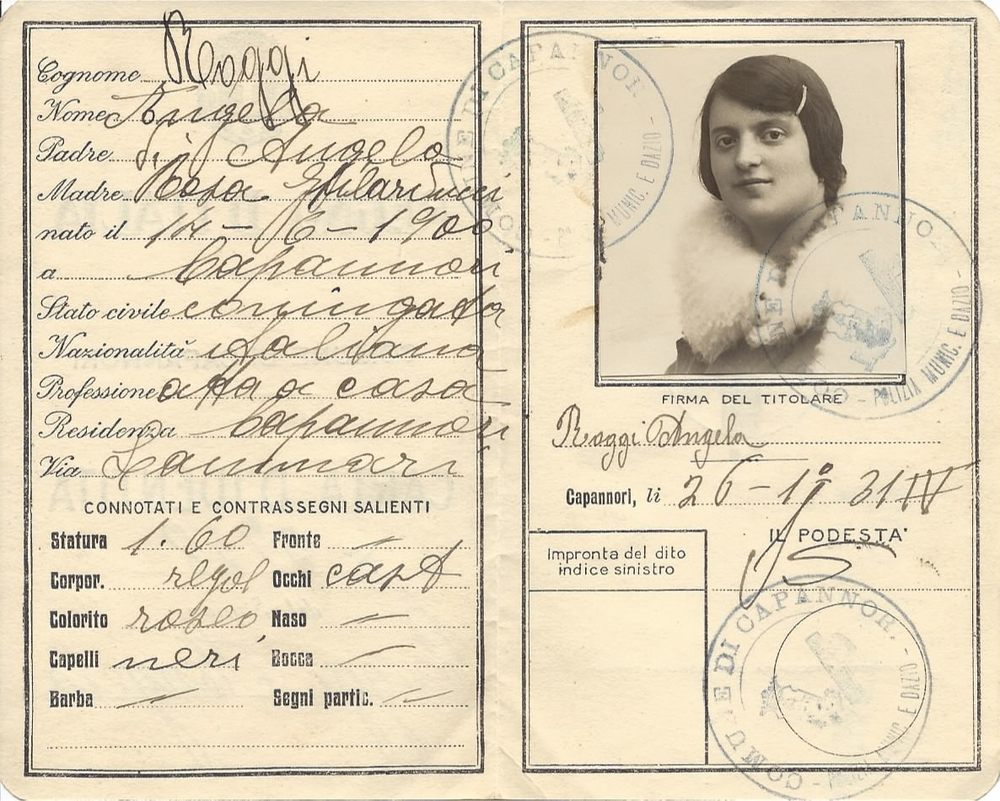 My Great-Grandmother Angela Bottari (Roggi) immigration ID card