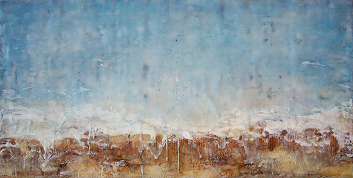 "Resurgence, Encaustic mixed media, 24"" x 12"", 2014"