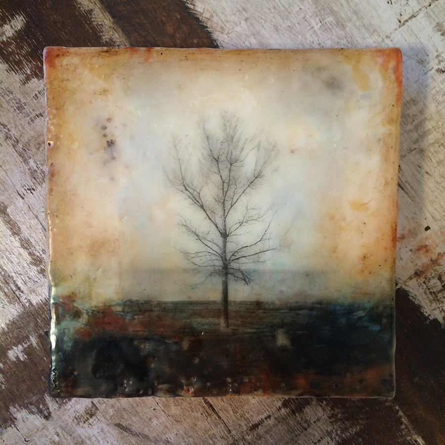 "Day One, encaustic and image transfer on panel, 6""x6"", 2014"