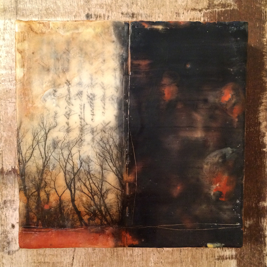 "Day Two,  encaustic and image transfer on panel, 6""x6"", 2014"