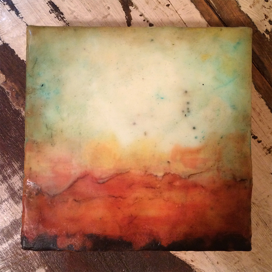 "Day Three,  encaustic on panel, 6""x6"", 2014"