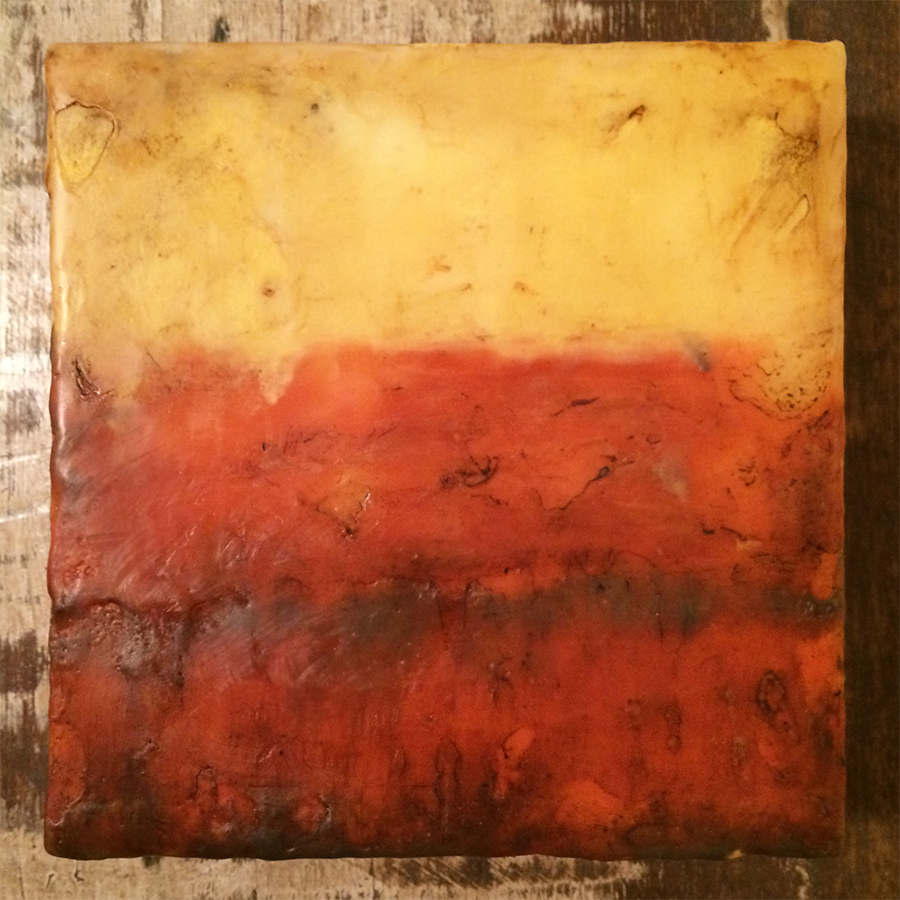 "Day Four, encaustic on panel, 6""x6"", 2014"