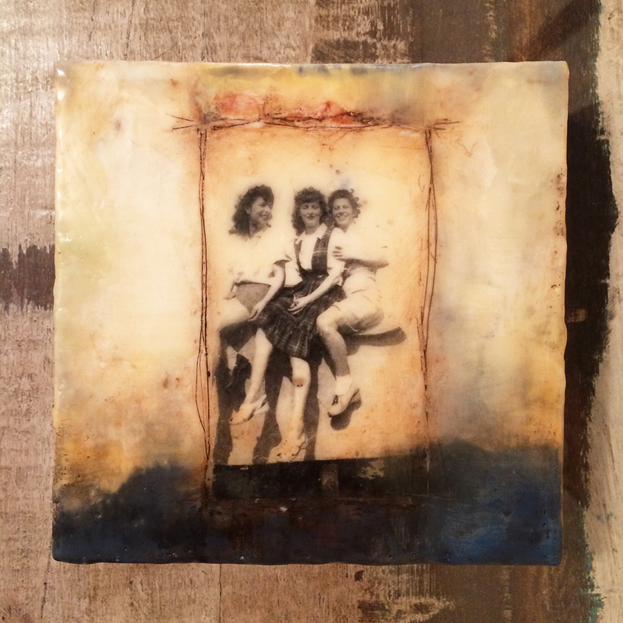 "Day Five, encaustic and image transfer on panel, 6""x6"", 2014"