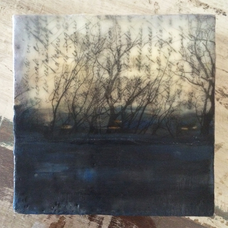 "Day Seven, encaustic and image transfer on panel, 6""x6"", 2014"