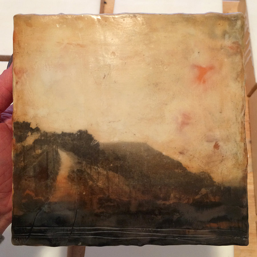 "Day Eleven, encaustic and image transfer, 6""x6"", 2014"