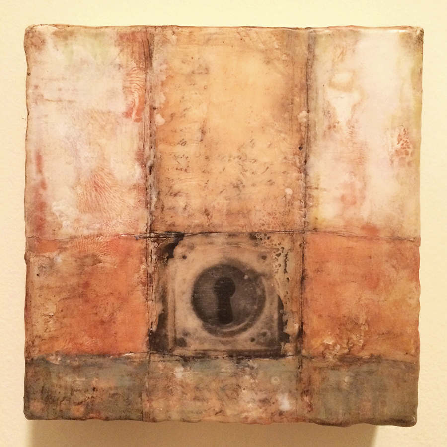 "Day Fourteen,  encaustic and image transfer, 6""x6"", 2014"