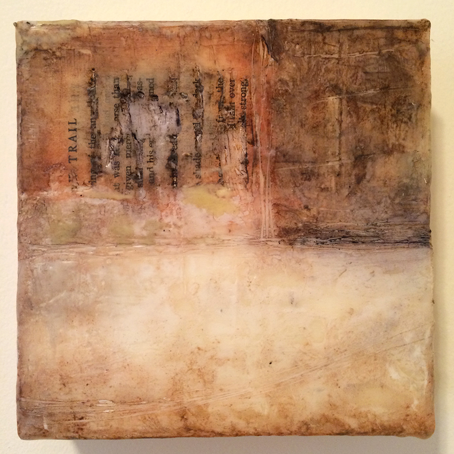 "Day Sixteen, encaustic mixed media, 6""x6"", 2014"