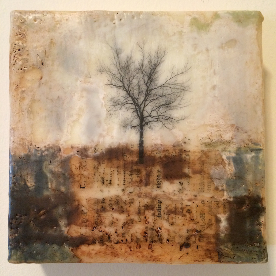 "Day Seventeen,  encaustic mixed media, 6""x6"", 2014"