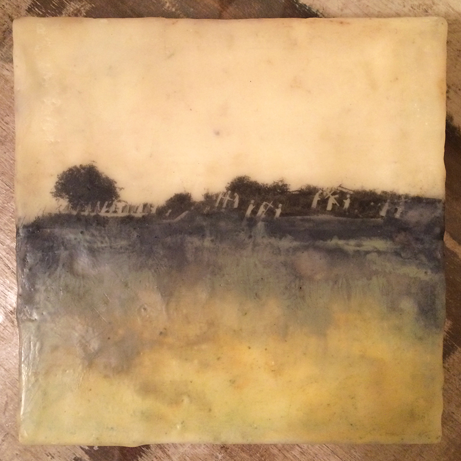 "Day Twenty,  encaustic and image transfer, 6""x6"", 2014"