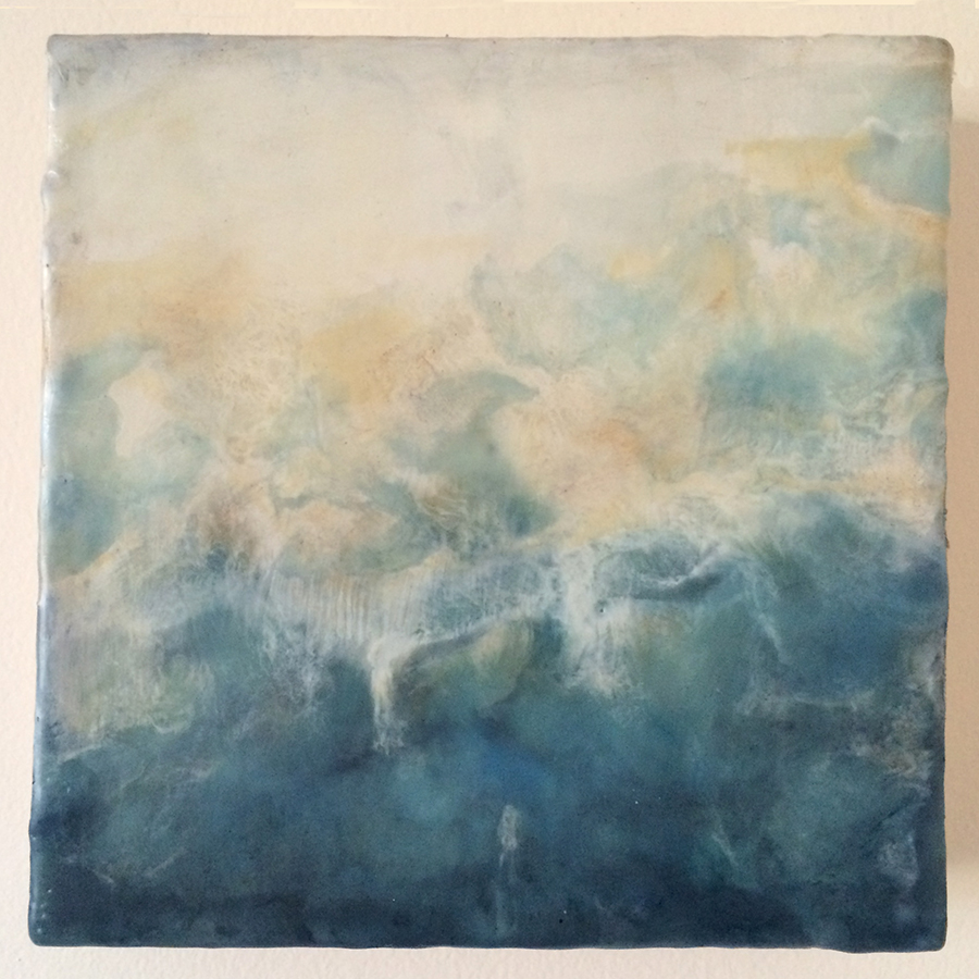 "Day Twenty-One,  encaustic on panel, 6""x6"", 2014"