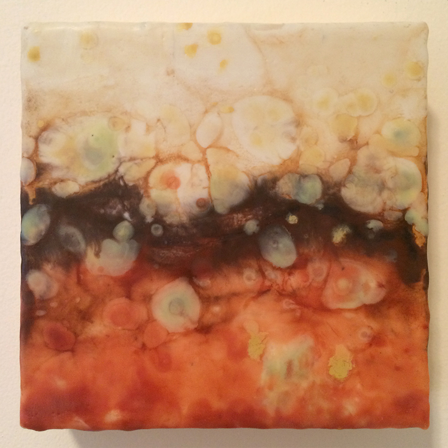 "Day Twenty-Five,  encaustic on panel, 6""x6"", 2014"
