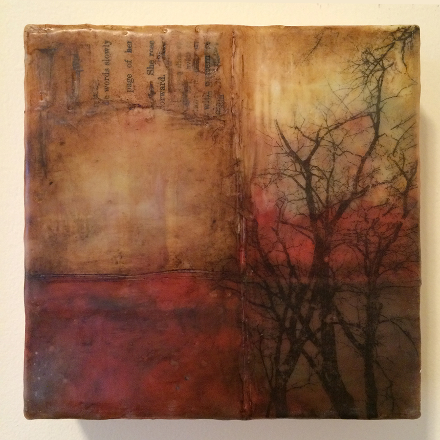 "Day Twenty-Six, encaustic mixed media, 6""x6"", 2014"