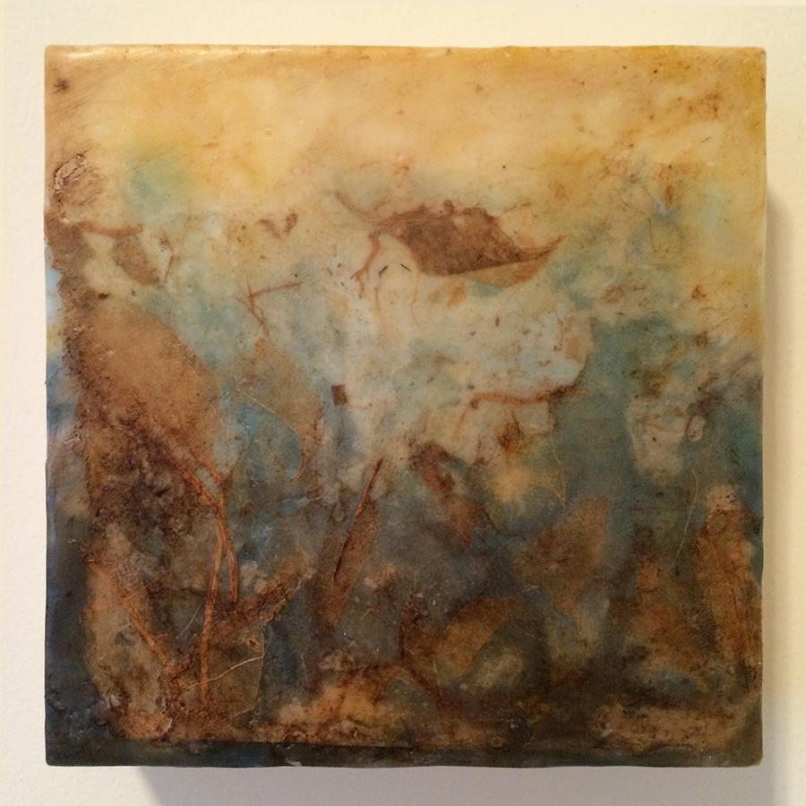 "Day Twenty-Eight,  encaustic mixed media, 6""x6"", 2014"
