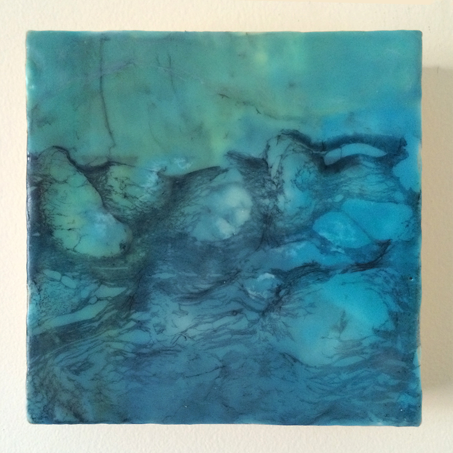 "Day Twenty-Nine,  encaustic on panel, 6""x6"", 2014"