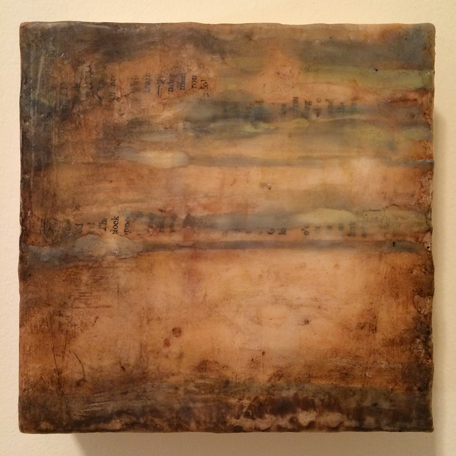 "Day Thirty,  encaustic mixed media, 6""x6"", 2014"