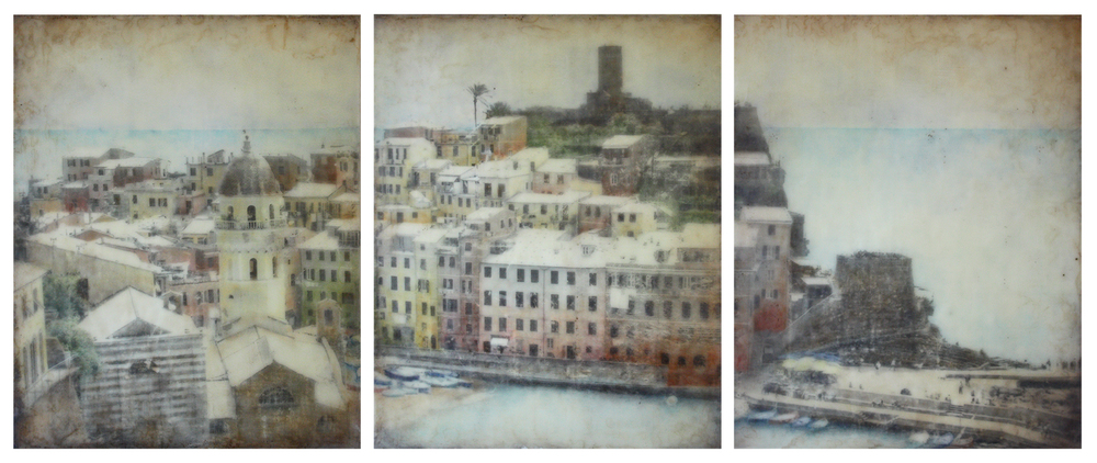 Descent Into Vernazza,  encaustic mixed media, 30 x 72 inches, 2014