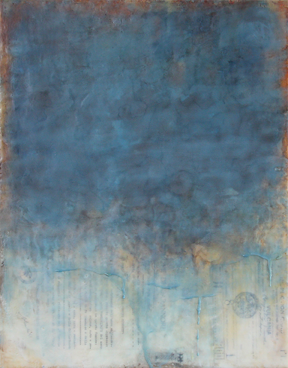Crossing the Ocean, encaustic mixed media, 16x20 inches, 2015 On display at the ARC Gallery in Chicago, IL from March 4-28