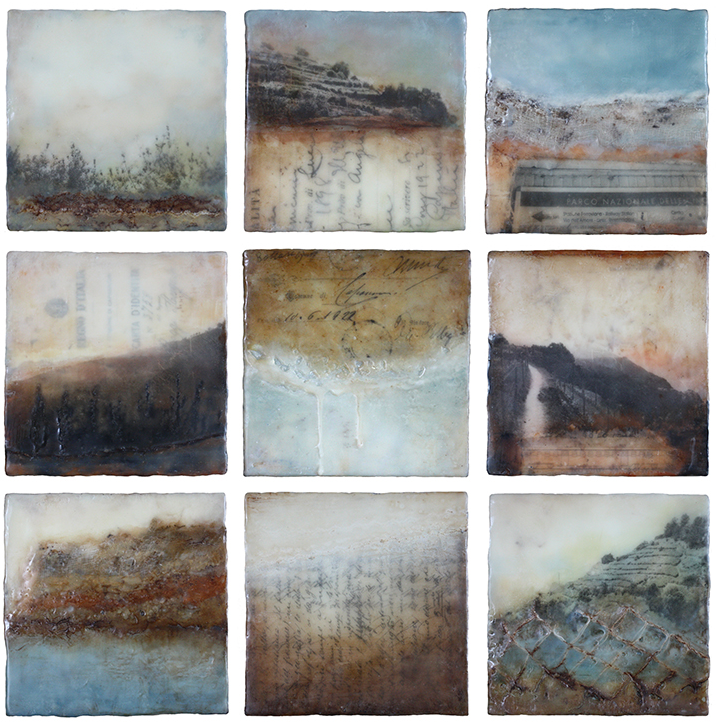 On the Sanctuary Trail #1-9, Encaustic mixed media, 6 x 6 inches (each), 2015