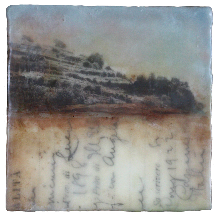Kari Hall, On the Sanctuary Trail #2, Encaustic mixed media, 6x6 inches