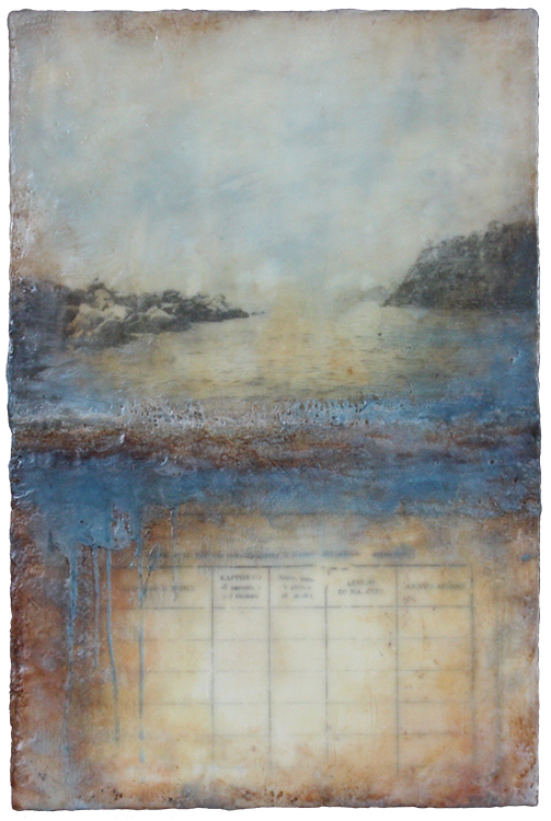 Kari Hall, Testament to the Sea, Encaustic mixed media, 18x12 inches