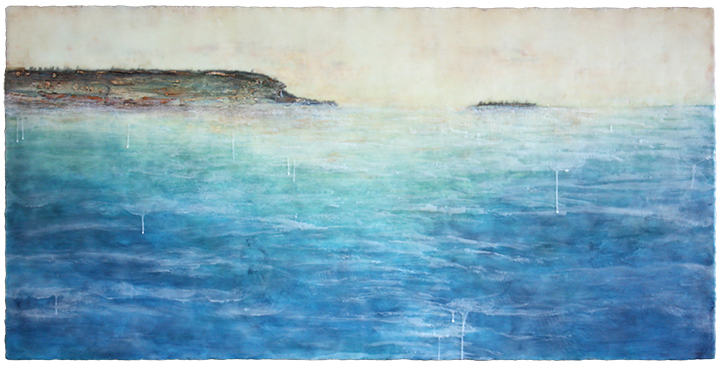 A Tradition on the Shore, encaustic mixed media, 30 x 60 inches, 2015