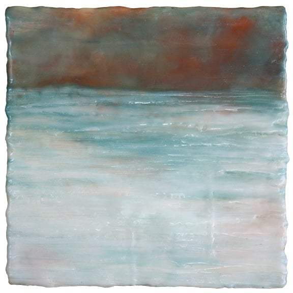 Glow After Sunset, encaustic, 8 x 8 inches, 2015, SOLD