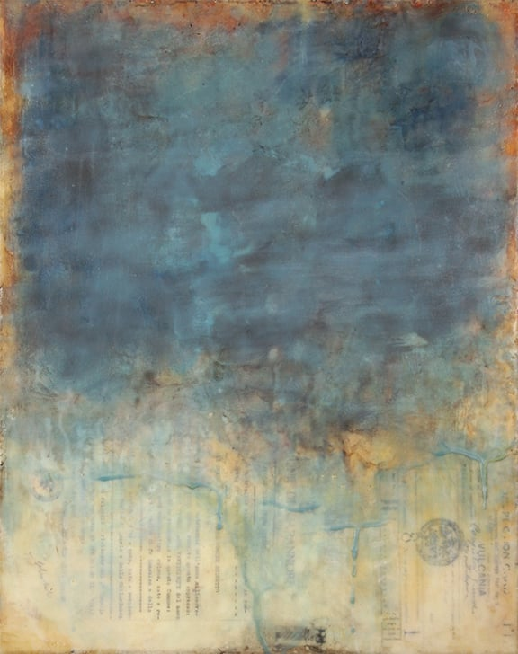 Crossing the Ocean, encaustic mixed media, 20 x 16 inches (original), 2015