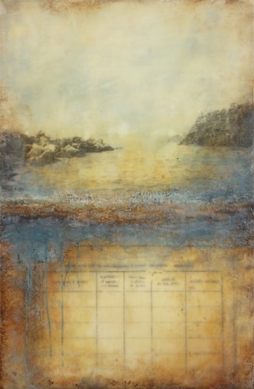 Testament to the Sea, encaustic mixed media, 18 x 12 inches (original), 2015
