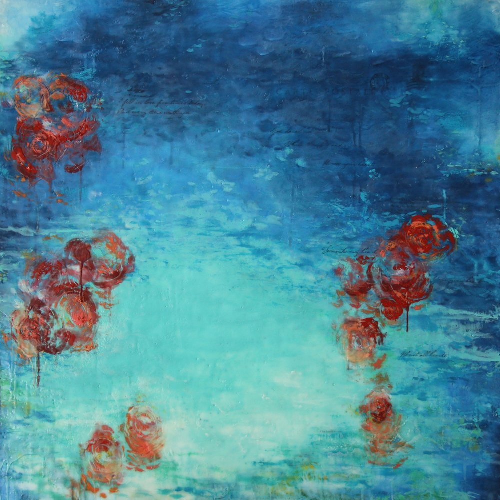 The Year of Roses, Encaustic on panel, 36 x 36 inches, 2017