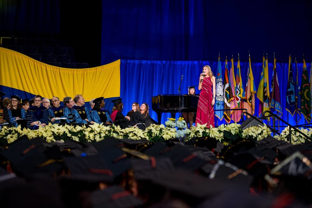 performing at University of Michigan's 2017 Winter Commencement, as part of receiving a 2017 Bicentennial Alumni Award