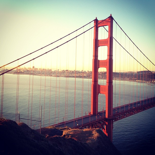 Sunset at the Golden Gate Bridge.