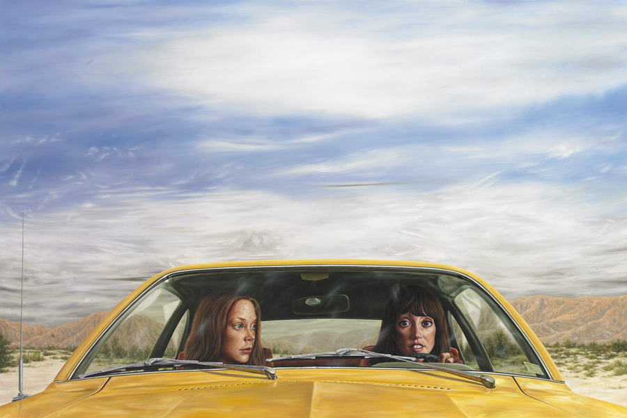"1973 Ford Pinto with Tanguy Sky (""3 Women"") 2011 • oil on canvas • 40 x 60 inches"
