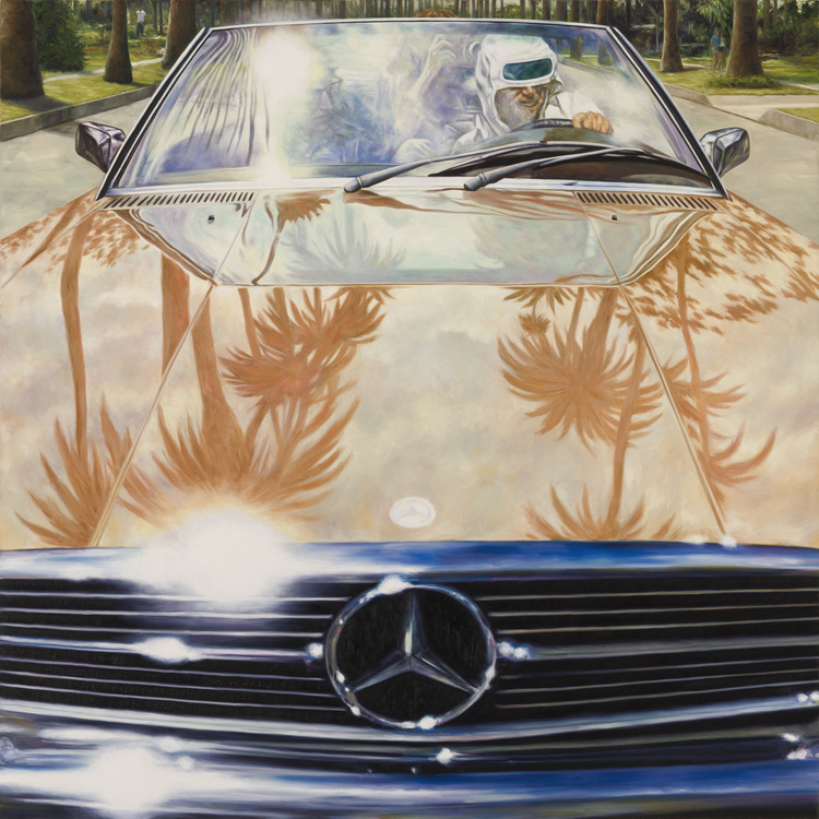 Eric White • 1974 Mercedes-Benz 450 SL (Annie Hall) • 2011 • oil on canvas • 48 x 48 inches