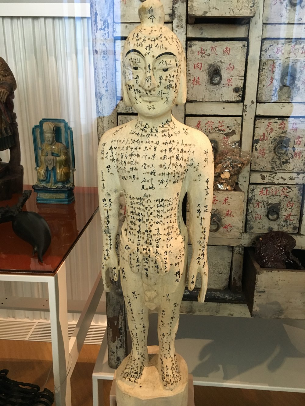 A 20th century mannequin showing acupuncture points. From Hebei Province, collected at the Musée de l'homme in Paris.