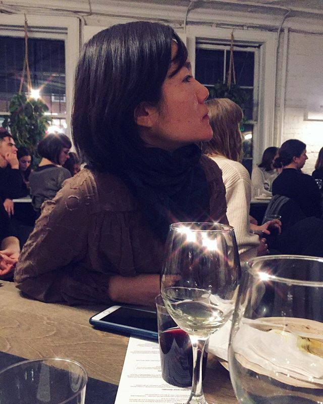 A wild @minana.jng pensively learning more about natural wines #🍷 #🍇 #🍍 #pineappleco #kirakira #✨
