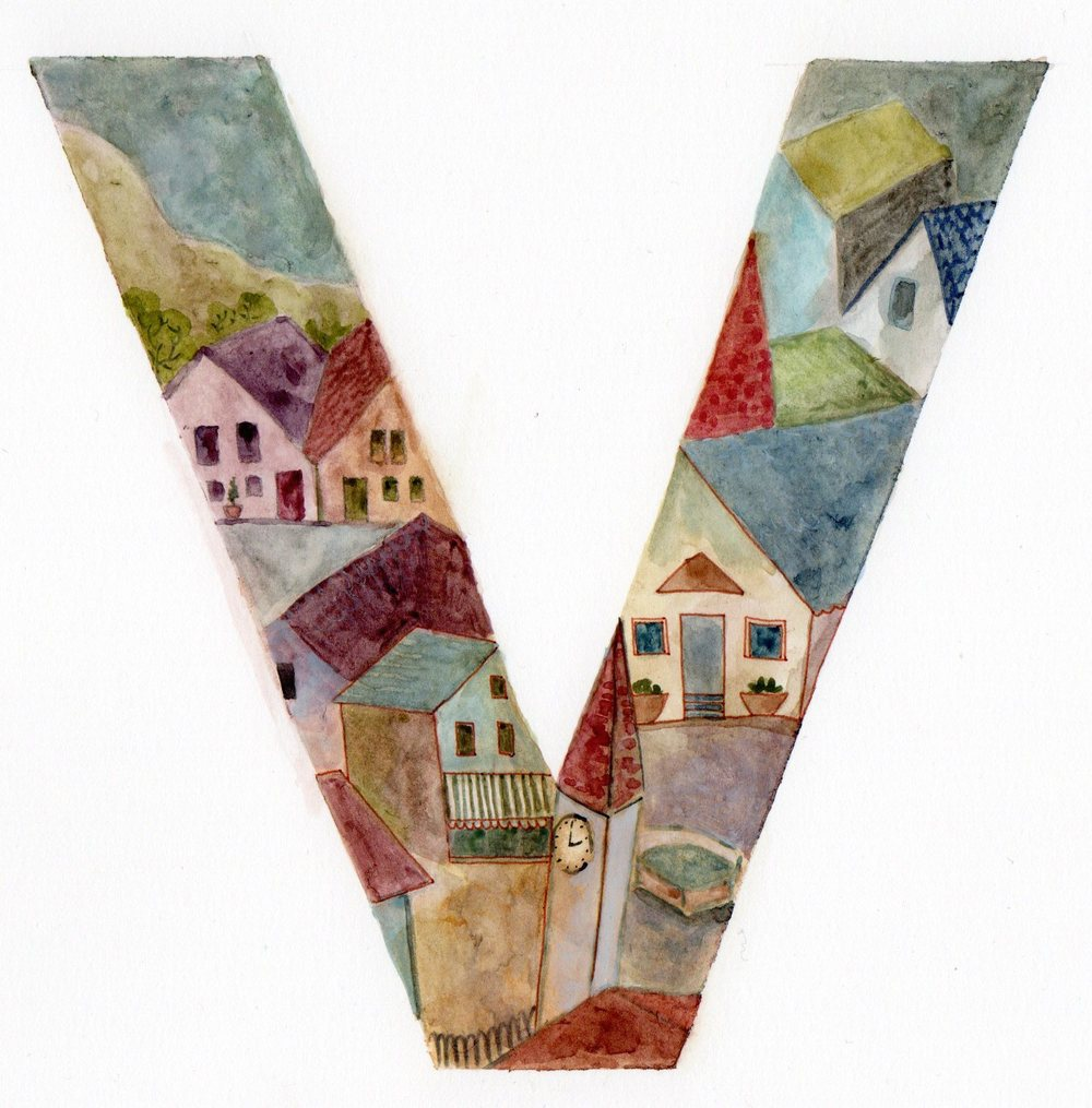 V is for Village, illustration by Ella Lapointe