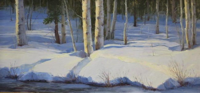 Kathleen Dunphy, 'Winter's End', 20 x 40, Oil on Linen.