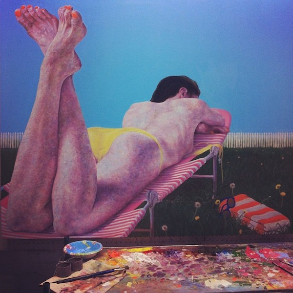 Nick Ward's painting for Back to Back in his studio.