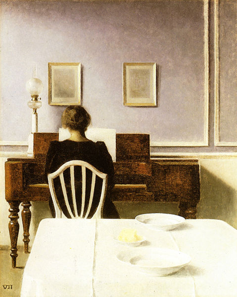 Vilhelm Hammershoi, 'Interior with a Girl at the Clavier', 22 x 17, Oil on Canvas, c. 1901, Private Collection