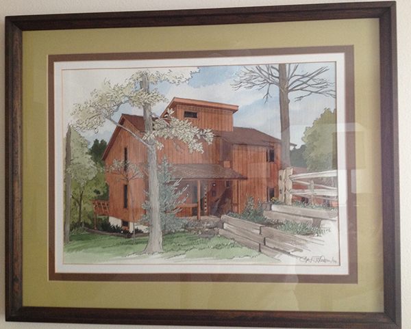 Watercolor of my grandparents house by Carl Johnson