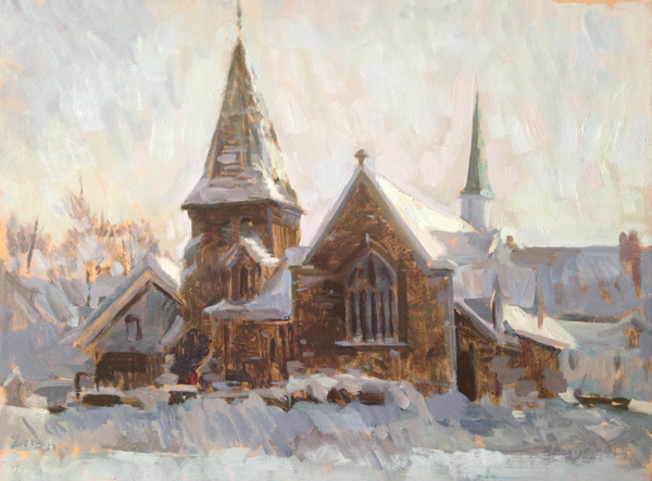 Leo Mancini-Hresko, 'Christ Church, Waltham', 12 x 16, Oil on Panel