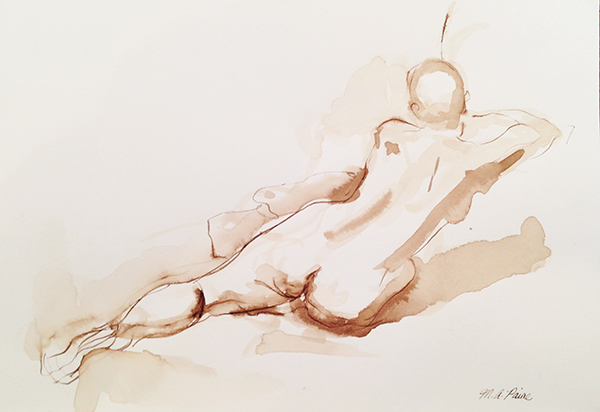 Michelle Arnold Paine, 'Reaching Diagonal', 7 x 10, Walnut Ink on Paper, $250.