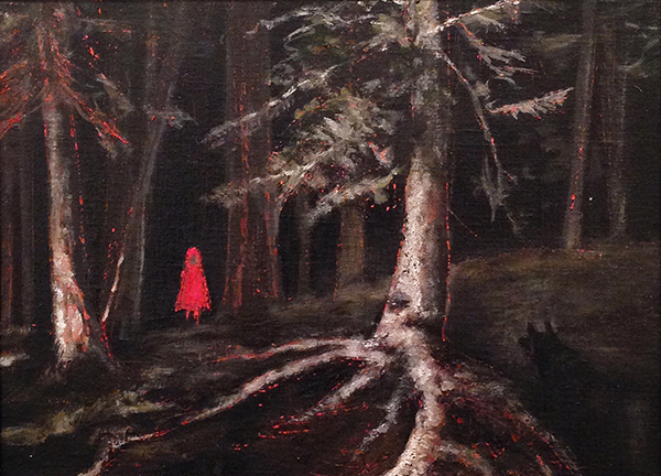 Aurelie Galois, 'Red Hood: In the Woods', 9 x 12, Oil on Linen, $2,500.