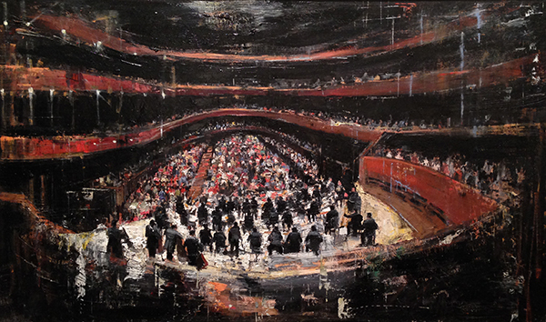 Gregory Prestegord, 'Behind the Orchestra', 36 x 61, Oil on Panel, $7,350.