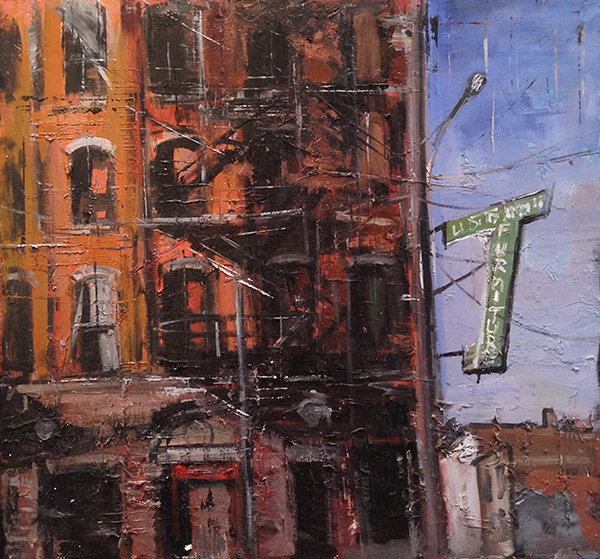 Gregory Prestegord, 'Fire Escapes', 27 x 29, Oil on Panel, $4,250.