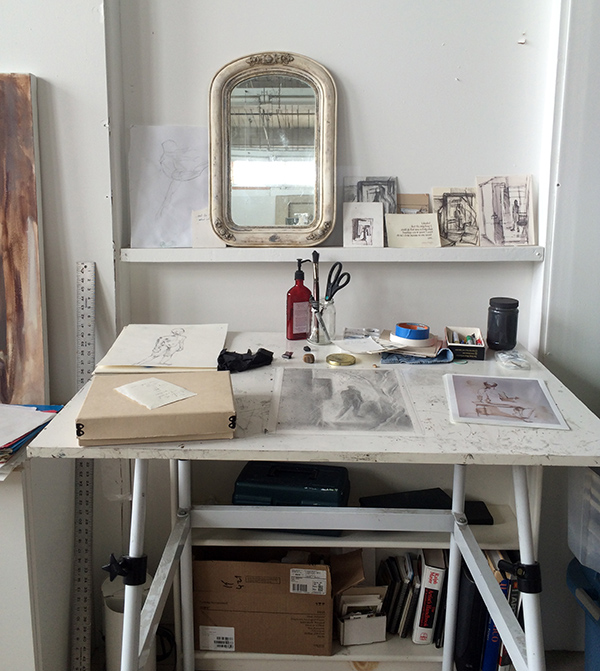 Michelle's beautiful drawing table with sketches