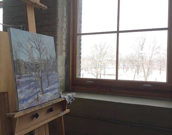 Michelle's current painting -- SNOW!